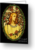 Stained Glass Glass Art Greeting Cards - Girl with Cherry Blossoms Greeting Card by Pg Reproductions