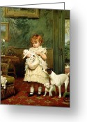 Kid Greeting Cards - Girl with Dogs Greeting Card by Charles Burton Barber