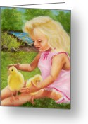 Portraits Greeting Cards - Girl with Ducks Greeting Card by Joni McPherson