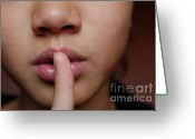 12-13 Years Greeting Cards - Girl with finger on lips Greeting Card by Sami Sarkis