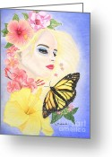Beautiful Flowers Pastels Greeting Cards - Girl With Flowers and Butterfly Greeting Card by Barbara Pelizzoli