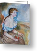 Impressionism Greeting Cards - Girl With Flowers Greeting Card by Eric  Schiabor