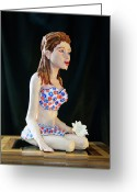 Female Sculpture Greeting Cards - Girl with lotus 3 Greeting Card by Yelena Rubin