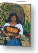 Mango Greeting Cards - Girl with Mangoes Greeting Card by Barbara Nye