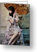 Umbrella Digital Art Greeting Cards - Girl with Parasol Greeting Card by Elena Nosyreva