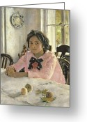 Food And Beverage Painting Greeting Cards - Girl with Peaches Greeting Card by Valentin Aleksandrovich Serov