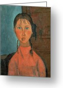 1918 Greeting Cards - Girl with Pigtails Greeting Card by Amedeo Modigliani