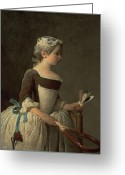 Chardin Greeting Cards - Girl with Racket and Shuttlecock Greeting Card by Jean-Baptiste Simeon Chardin