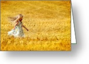 Twirl Greeting Cards - Girl with the Golden Locks Greeting Card by Bill Pevlor