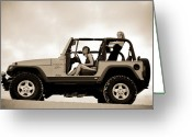 Warn Greeting Cards - girls and Jeeps  Greeting Card by Scott Sawyer