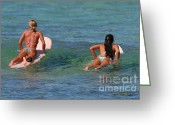 Hawaiian Art Photo Greeting Cards - Girls Go Surfing Greeting Card by Paul Topp