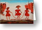 Jump Drawings Greeting Cards - Girls in Red Dresses Jump Rope Greeting Card by Mary Carol Williams