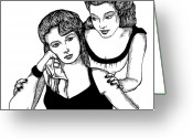 Old Ladies Drawings Greeting Cards - Girls Greeting Card by Karl Addison