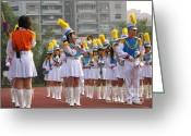 Brass Instruments Greeting Cards - Girls Marching Band Greeting Card by Yali Shi