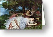 Slumber Greeting Cards - Girls on the Banks of the Seine Greeting Card by Gustave Courbet