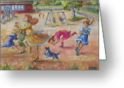 Pretending Greeting Cards - Girls Playing Horse Greeting Card by Dawn Senior-Trask