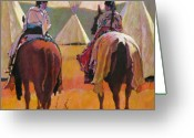 Riders Greeting Cards - Girls Riding Greeting Card by Robert Bissett