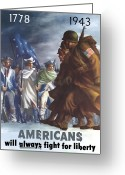 Political Propaganda Greeting Cards - GIs and Minutemen Greeting Card by War Is Hell Store