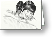 Drawing Pyrography Greeting Cards - GITA GUTAWA young singer from Indonesia Greeting Card by Yudiono Putranto