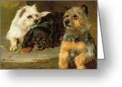 Laying Down Greeting Cards - Give a Poor Dog a Bone Greeting Card by George Wiliam Horlor