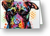 Dean Russo Art Painting Greeting Cards - Give Love Pitbull Greeting Card by Dean Russo