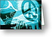 Counterculture Greeting Cards - Give Peace a Shirt Greeting Card by Chuck Taylor