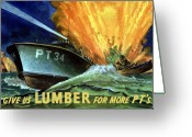 Ships Greeting Cards - Give Us Lumber For More PTs Greeting Card by War Is Hell Store
