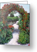 Tr Roderick Greeting Cards - Giverney Garden Path Greeting Card by Tom Roderick