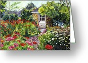 Shed Greeting Cards - Giverny Gardeners House Greeting Card by David Lloyd Glover
