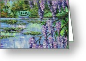 Original Greeting Cards - Giverny Lily Pond Greeting Card by Beata Sasik
