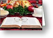 Holy Napkin Photo Greeting Cards - Giving Thanks Greeting Card by Stephanie Frey