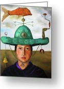 Weather Vane Greeting Cards - Gizmo 3 Greeting Card by Leah Saulnier The Painting Maniac
