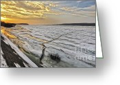 Sunset Posters Greeting Cards - Glaciation of the Danube. Greeting Card by Evmeniya Stankova