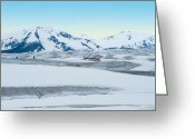 Crevice Greeting Cards - Glacier Base Greeting Card by Peter Olsen