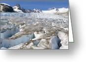 Crevice Greeting Cards - Glacier Crevasses, Canada Greeting Card by David Nunuk