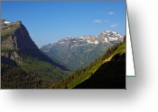 Mountain Ranges Greeting Cards - Glacier National Park MT - View from Going to the Sun Road Greeting Card by Christine Till