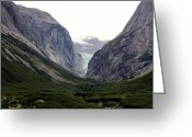 Snow Capped Digital Art Greeting Cards - Glacier Pass Greeting Card by Mindy Newman
