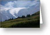 Rock Walls Greeting Cards - Glacier Tongue Scours The Valley Far Below Greeting Card by Greg Hammond