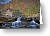 Glade Mill Greeting Cards - Glade Creek Grist Mill at Babcock Greeting Card by Williams-Cairns Photography LLC