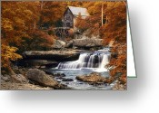 Waterfall Greeting Cards - Glade Creek Mill in Autumn Greeting Card by Tom Mc Nemar