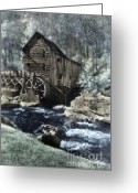 Glade Mill Greeting Cards - Glade Creek Mill in infrared. Greeting Card by Jill Battaglia