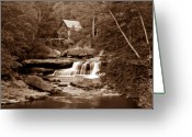 Flowing Greeting Cards - Glade Creek Mill in Sepia Greeting Card by Tom Mc Nemar
