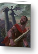 Storm Digital Art Greeting Cards - Gladiator Warrior With Monster On Pillar Greeting Card by Martin Davey
