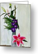 Purple Gladiola Greeting Cards - Gladiola and a Star Greeting Card by Marsha Heiken