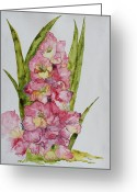 Nature Study Painting Greeting Cards - Gladiolas Greeting Card by Patsy Sharpe