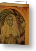 Goddess Posters Greeting Cards - Glain Nadredd Greeting Card by Roger Williamson
