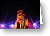Live Music Greeting Cards - Glam Rock Lead Singer Greeting Card by James Hammen