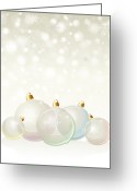 Merry Greeting Cards - Glass baubles pastel Greeting Card by Jane Rix