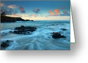 Rocks Greeting Cards - Glass Beach Dawn Greeting Card by Mike  Dawson