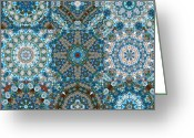 Blue Quilts Greeting Cards - Glass Beads Quilt Greeting Card by Tracy Pierceall